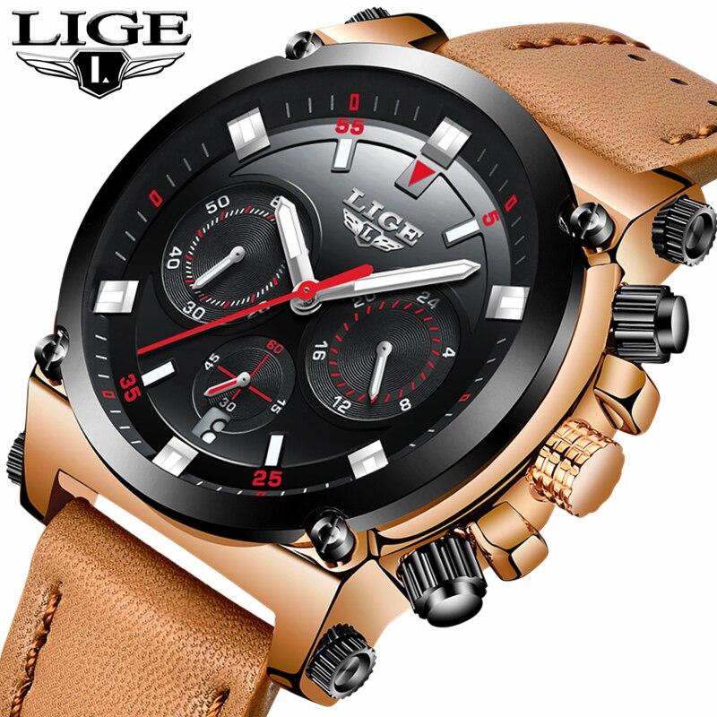 LIGE Montre Hommes de Mode Sport Quartz Grand Cadran Horloge En Cuir Hommes Montres Top Marque De Luxe Montre Étanche Relogio Masculino