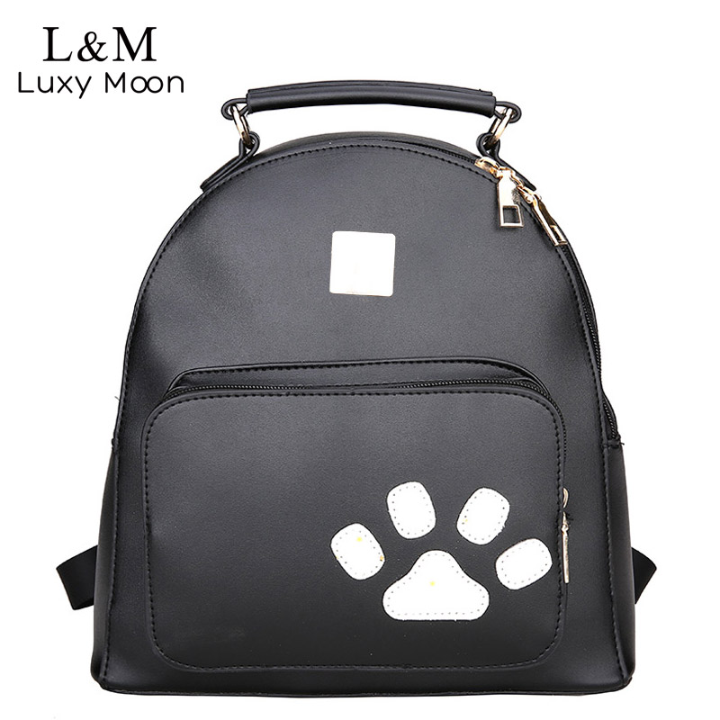 Luxy moon Cute Animal feet Leather Backpack Women Multi-function Shoulders Bags for Girls Simple Fashion 2018 Travel Bags XA369H
