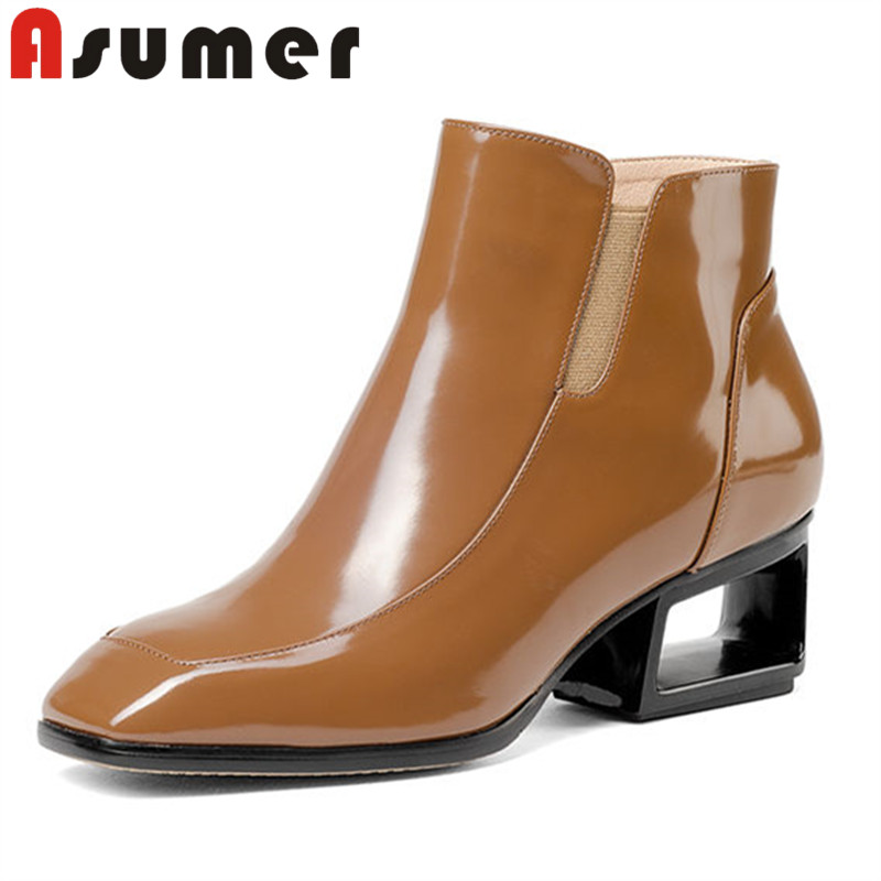 ASUMER 2018 NEW elastic band shallow boots square toe solid genuine leather boots fretwork heels adult ankle boots for women ASUMER 2018 NEW elastic band shallow boots square toe solid genuine leather boots fretwork heels adult ankle boots for women