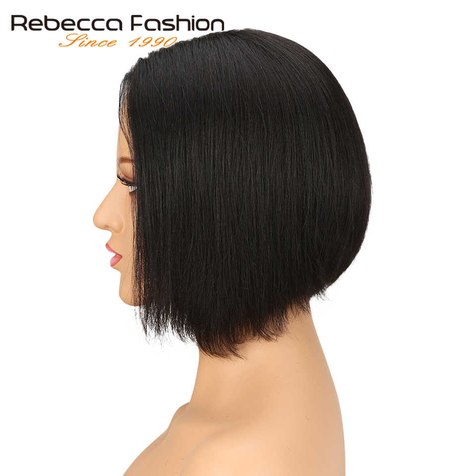 Rebecca 8 Inch Short Bob Human Hair Lace Wigs For Black Women Middle Part Peruvian Remy Straight Hair Lace Wig Natural Black