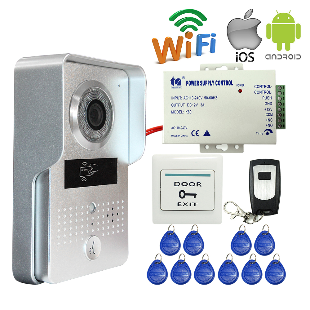 Free Shipping Outdoor Wireless Wifi IP Doorbell Camera Video Intercom Door Phone for Android IOS Smartphone RFID Remote Unlock 2016 new wifi doorbell video door phone support 3g 4g ios android for ipad smart phone tablet control wireless door intercom