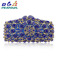 Luxury Crystal Hollow Out Day Clutches Women Evening Bags Wedding Party Clutch Bag Hanging Toiletry Bag Lady Gold Diamonds Purse