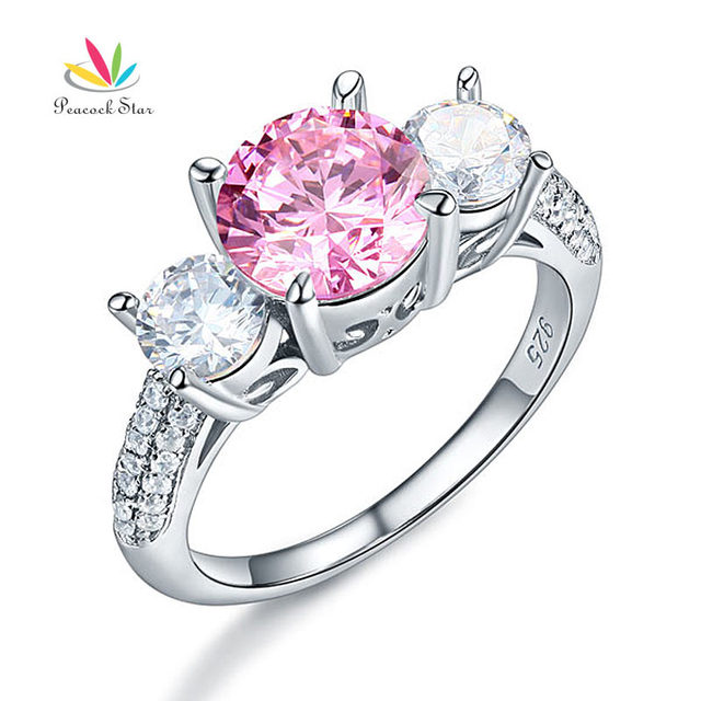 Peacock Star 925 Sterling Silver 3-Stone Promise Engagement Ring 2 Ct Fancy Pink Created Diamond Jewelry Vintage Style CFR8227