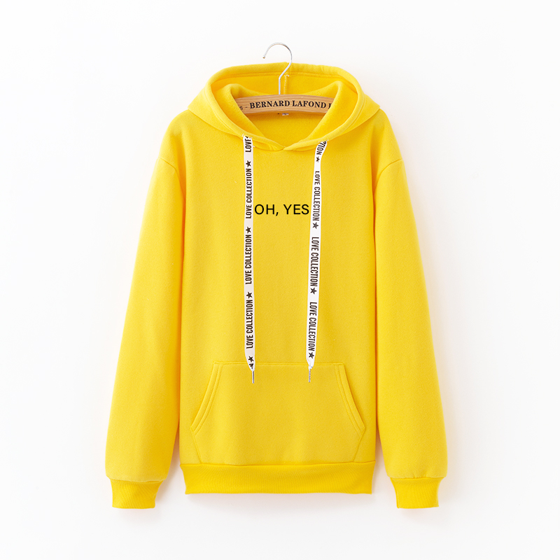 Oh Yes Letter Harajuku Casual Sweatshirt Winter New Fleece Solid Color Pullover Coat Thicken Warm Tops Loose Women Hoodies