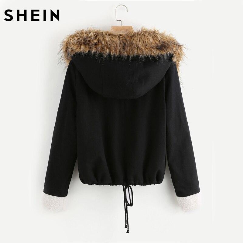 Купить Шеин с флисовой подкладкой куртка искусственной меховая отделка  капюшоном хлопковая верхняя одежда пальто для будущих мам повседневное че. ed1b20661b6