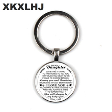 XKXLHJ Mother On Daughter Letter Picture Charm Birthday Gift Key Button Convex Round Glass Pendant Handmade Ring Jewelry