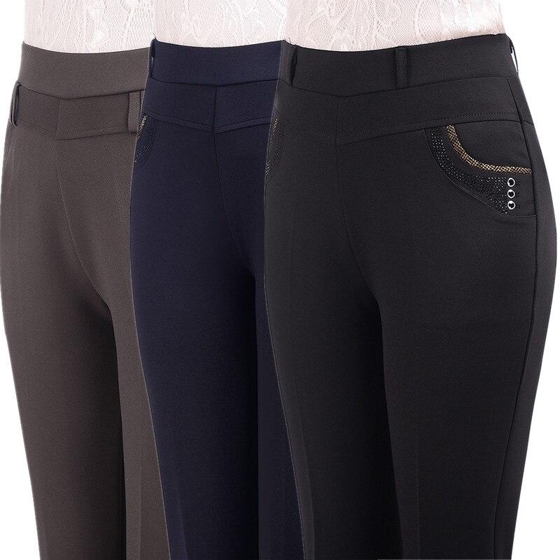 Женские модные повседневные брюки среднего возраста, 2020, свободные, высокая талия, женские брюки, новые, Осень зима, женские, большие размеры 9XL, плотные брюки|Брюки |   | АлиЭкспресс