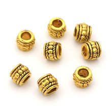 25pcs Metal Gold Silver Bronze Cylinder Loose Beads For Jewelry Finding Bracelet Necklace Needlework DIY Accessories