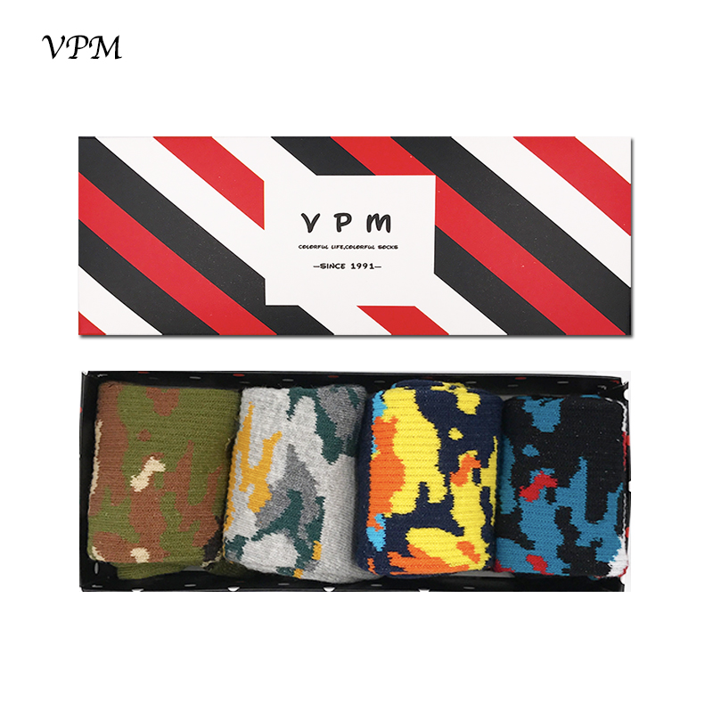 VPM Winter Warm Cotton Business Man Socks Colorful Camouflage Professional Compression Towel Thick Socks Gift Box 4 Pairs/Lot
