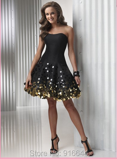 Robe Bustier Cocktail 2015 Custom Made Black Satin Gold Sequined