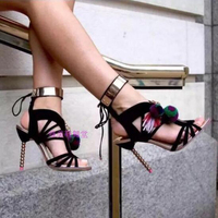 Brand Design Cutouts Lace Up Sexy Summer Shoes Woman With Fringe Fashion Beading Heel Gladiators Sandals