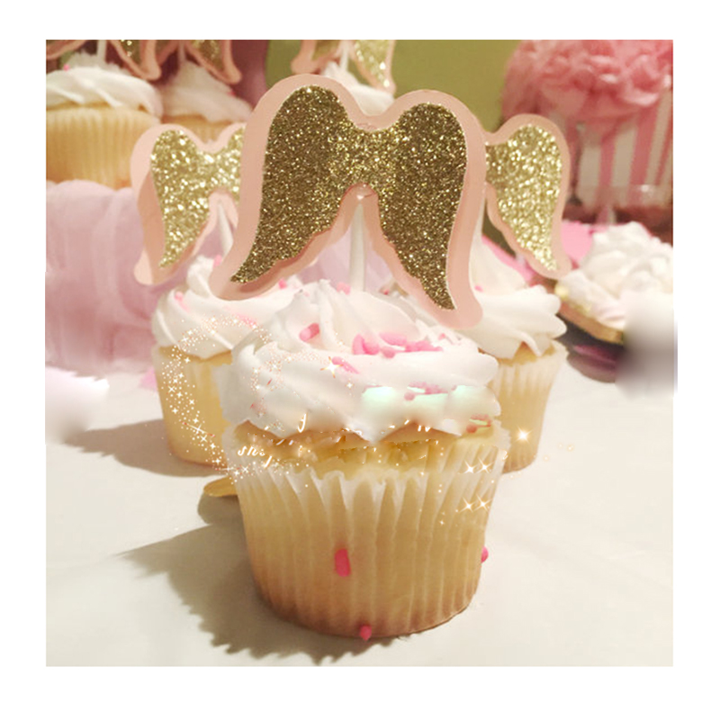 Glitter Cake Topper Birthday Baby Party Decorative A guardian angel Solid powder bright golden angel wings cake decoration
