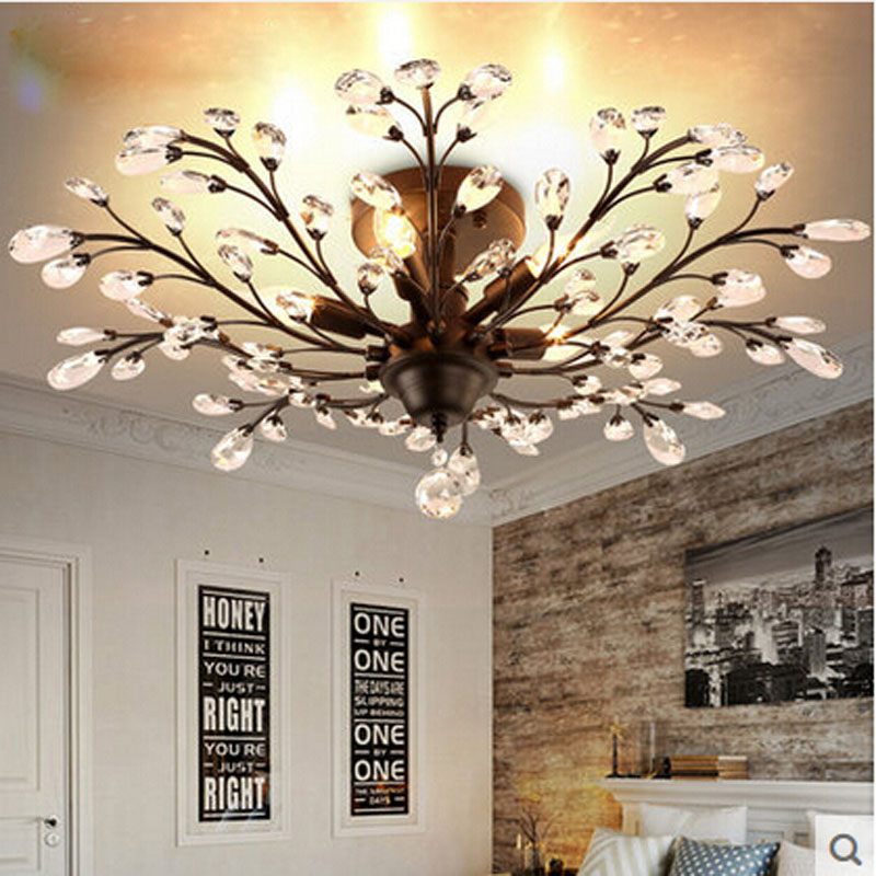 American Crystal Ceiling Lamp European Luxury Retro Bedroom Living Room Dining Room Iron Chandelier LED E14 Lighting hang lamps 2017 luminaria american retro crystal iron chandelier living room bedroom restaurant golden vintage art lighting free shipping