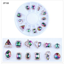 1 Wheel Nail Rhinestones Gems Crystal Diamond 12pcs wheel AB Rhinestone Glitter For Art Decoration SR21