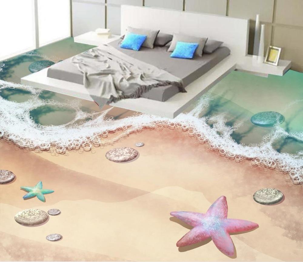 ФОТО Beach 3D stereoscopic stone water 3D wall murals wallpaper floor 3D wallpaper floor for living room Bathroom 3d wallpaper floor