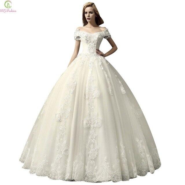 Ssyfashion boat neck vestidos de novia de estilo europeo el cristal ...
