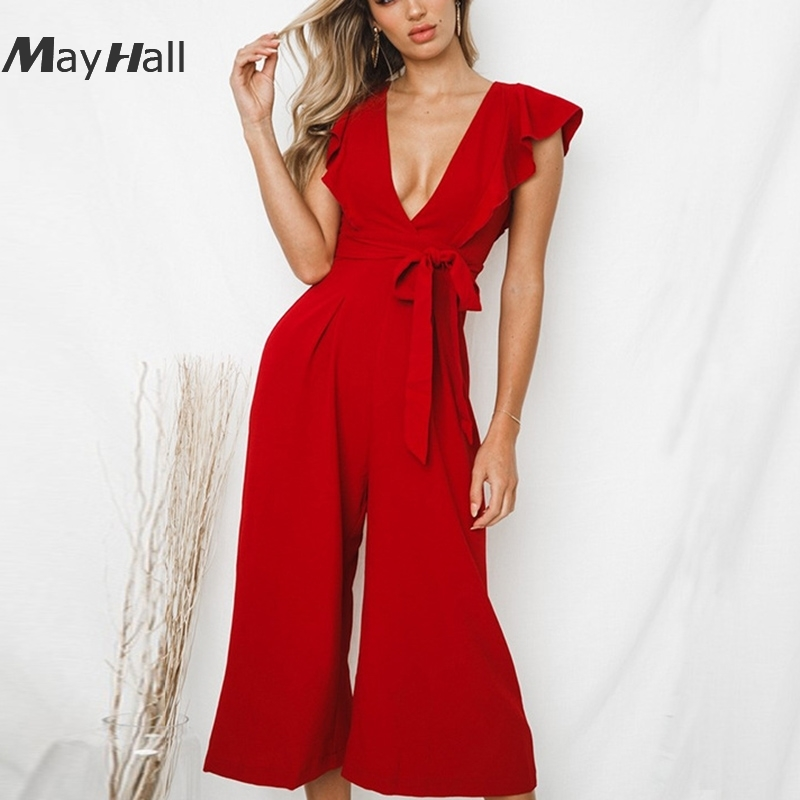 MayHall Front Tie up Women Plaid Summer Jumpsuits V neck Strap Party Overalls For Female Sexy Beach mono mujer 2018 MH192