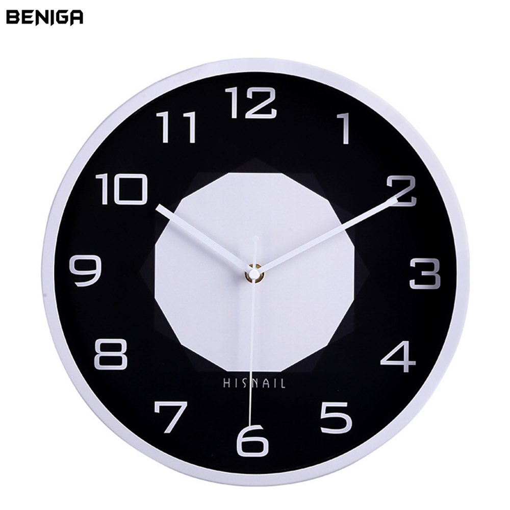 Minimalist Black White Wall Clock Minority Vogue European Luxury Graceful Round Silently Quartz Needle Mute Wall Clock for Decor