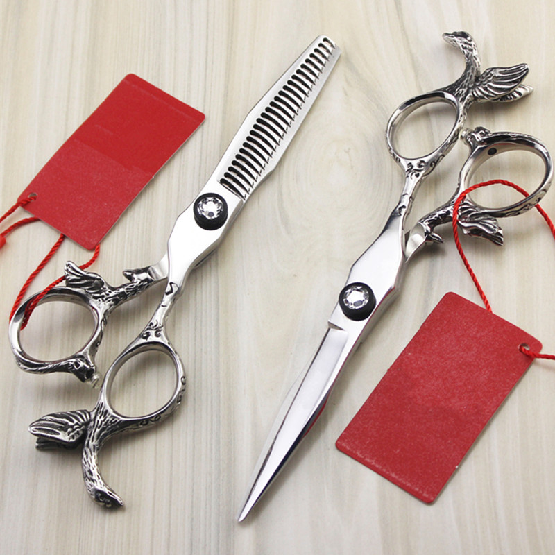 Upscale Professional japan 440c 5.5 inch Angel hair scissors cutting barber makas salon thinning shears hairdressing scissors custom upscale japan 440c 5 5 inch 3in1