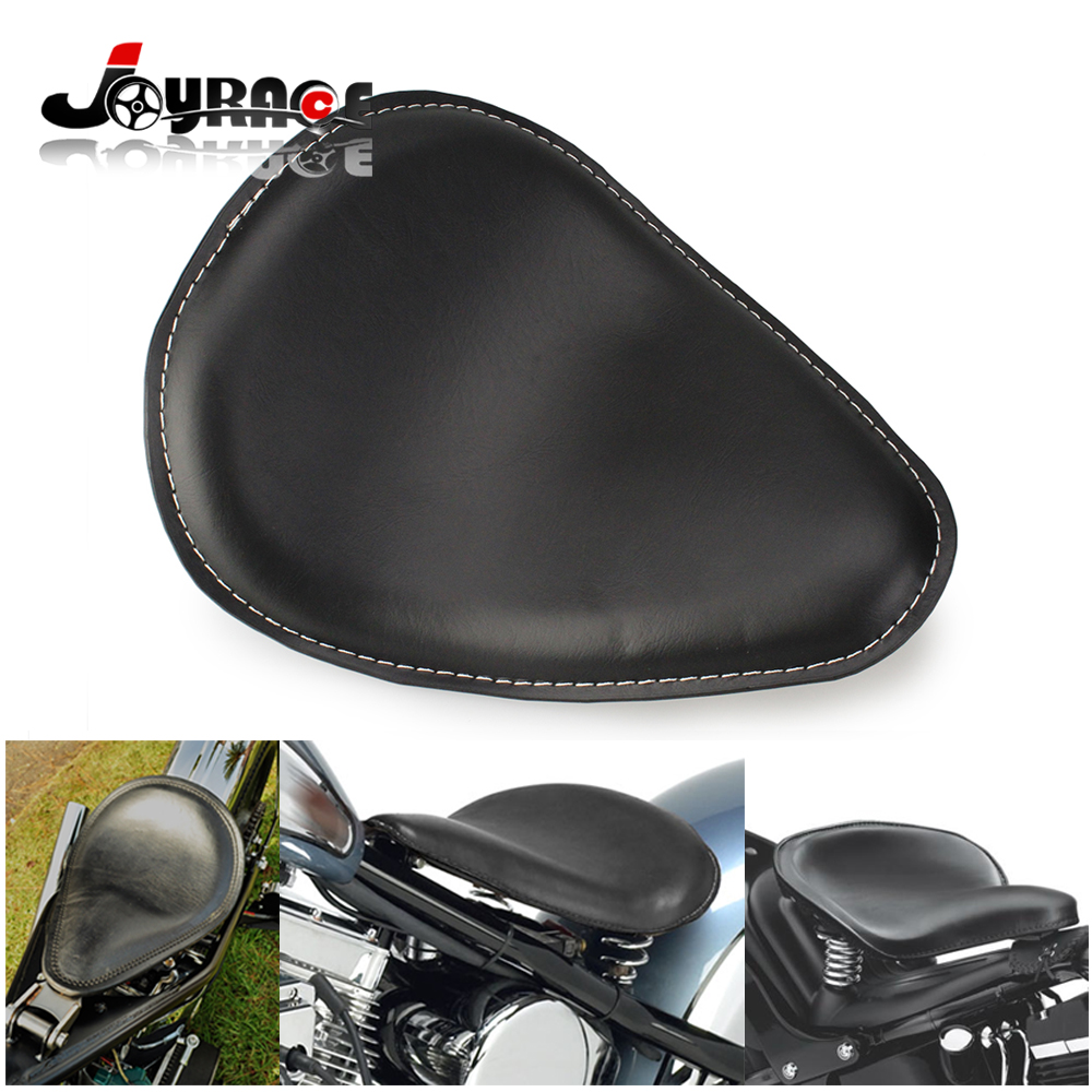 Synthetic Leather Solo Motorcycle Seat for Harley Chopper Bobber Sportster Custom Black Color