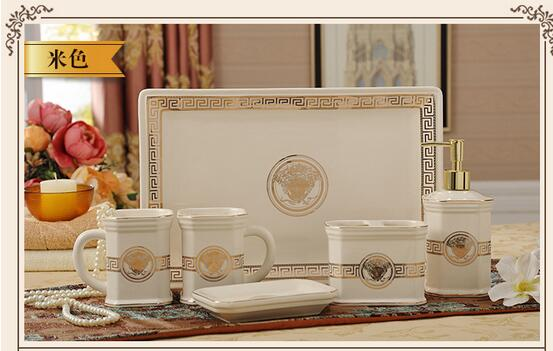 Free Shipping Classic Europe Luxury Royal Design Ceramic Bathroom Sets Toothbrush Cup Lotion Bottle