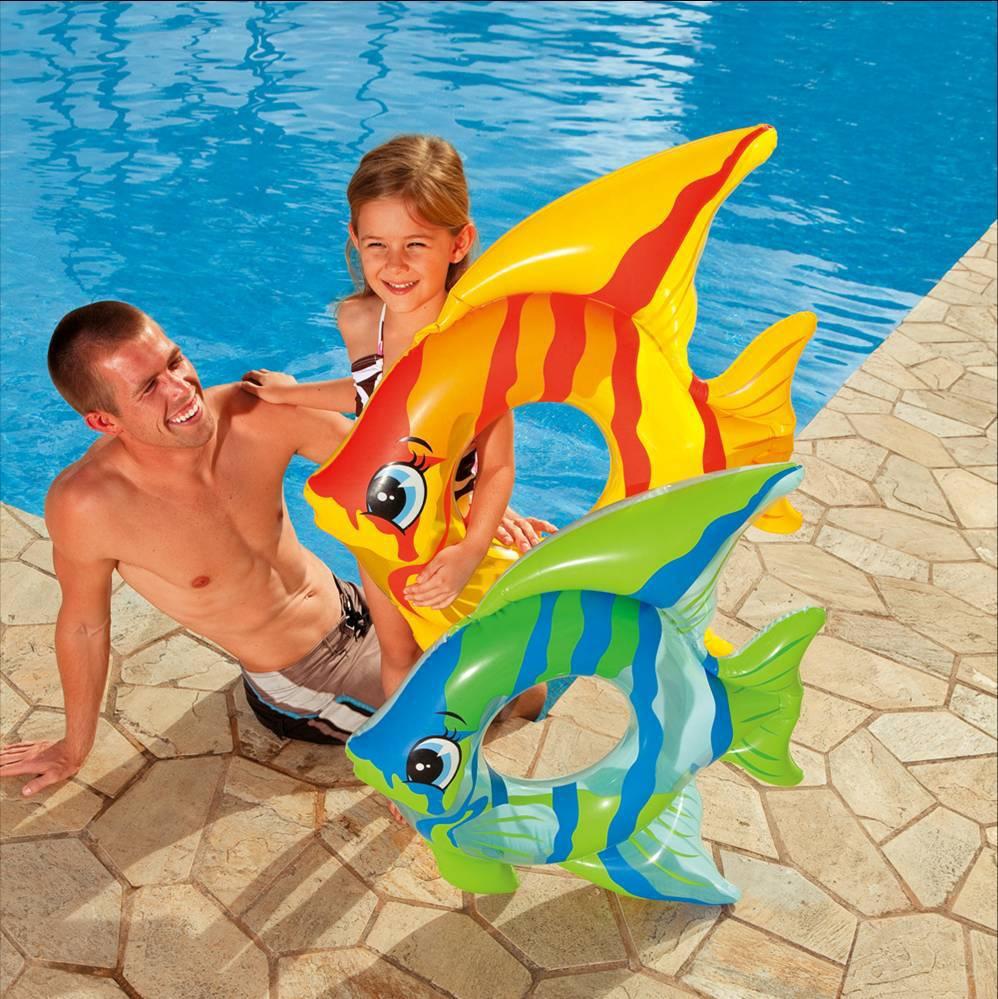 Uppblåsbara simning ring flytande simma ring barn cork hoop fisk liv böja sommar strand leksaks vattensporter
