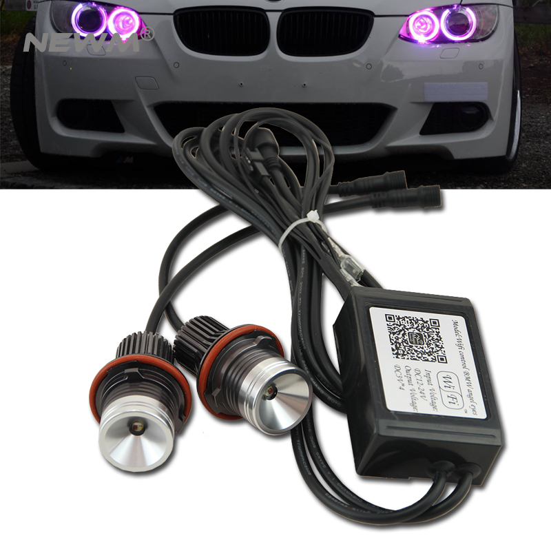 wifi RGB LED Angel Eyes 12V 24W canbus LED marker halo ring bulb for BMW E60 E61 E63 E64 87 X3 E39 E53 E65 E66 Error Free