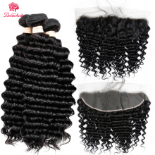 Beauhair Malaysian Non Remy Hair Deep Wave 3 Bundles with 13x4 Frontal Human Hair Extensions with Free Part Lace Frontal Closure