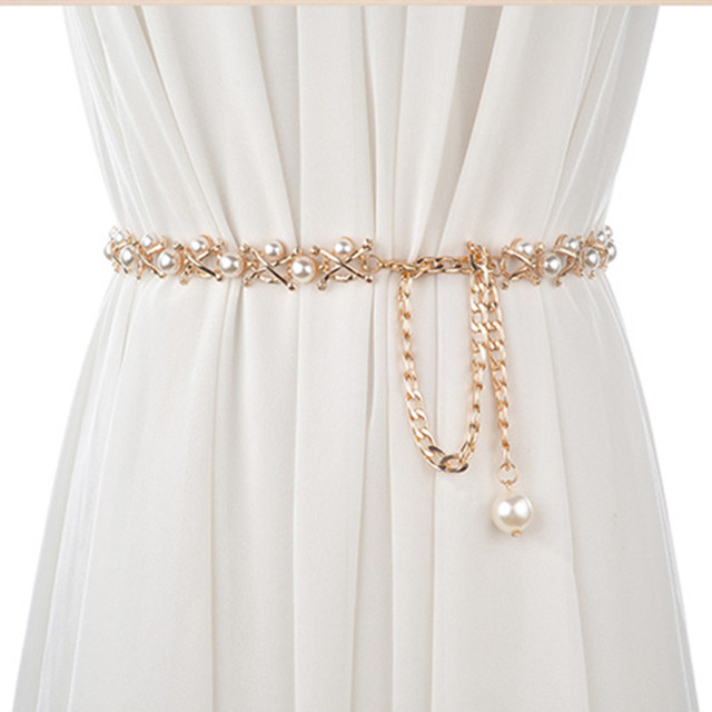 White Crystal Rhinestone Pearl Wedding Belt For Bridal Dress Cummerbunds Waistband Girdle Accessories Women Belts 2017 New  Hot