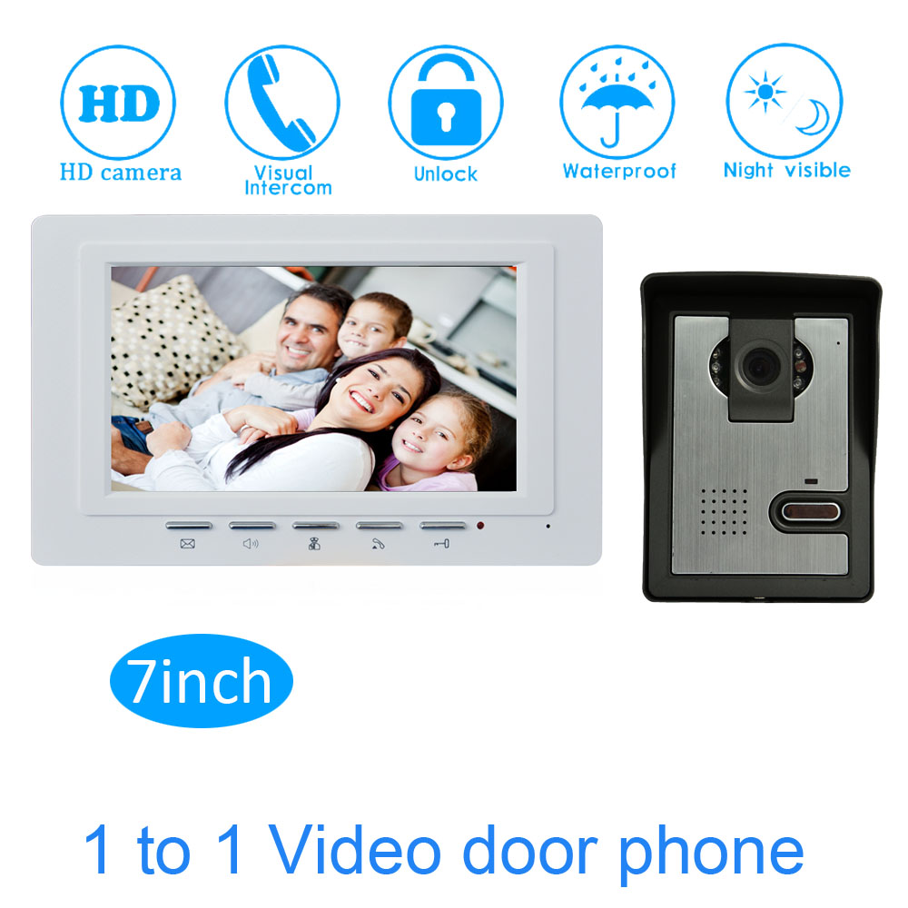 New 7Inch LCD Monitor Color Display Wired Video Doorphone Smart Home Doorbell Security Camera Building  Intercom