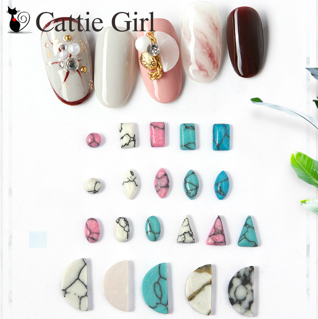 2pcs Red Turquoise Resin Marble Stone Nail Art Decorations 3D DIY Nail  Accessories Imitation Water Marble Stones Nails Set 53127b8aaed6