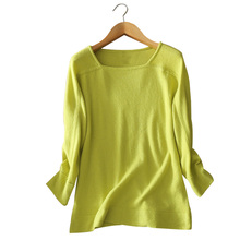4 colors square collar three quarter sleeves 100% cashmere pullovers solid color knitting sweater autumn/winter
