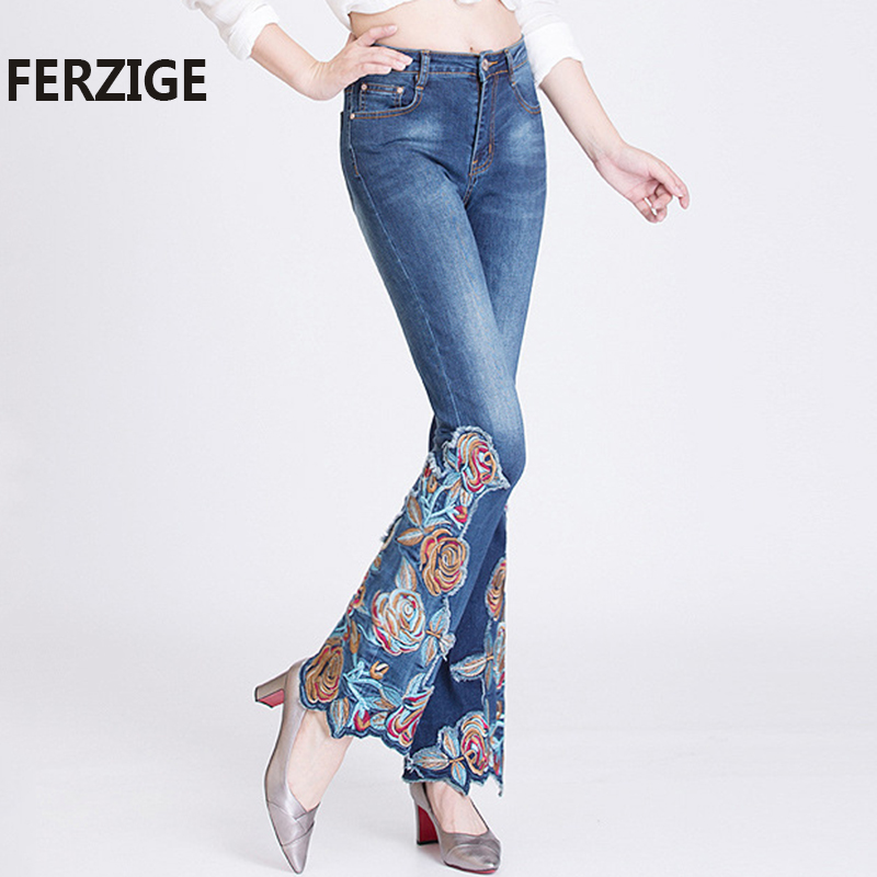 FERZIGE Jeans Women Embroidered Florals High Waist Stretch Jeans Push Up Flares Bell Bottoms Slim Fit