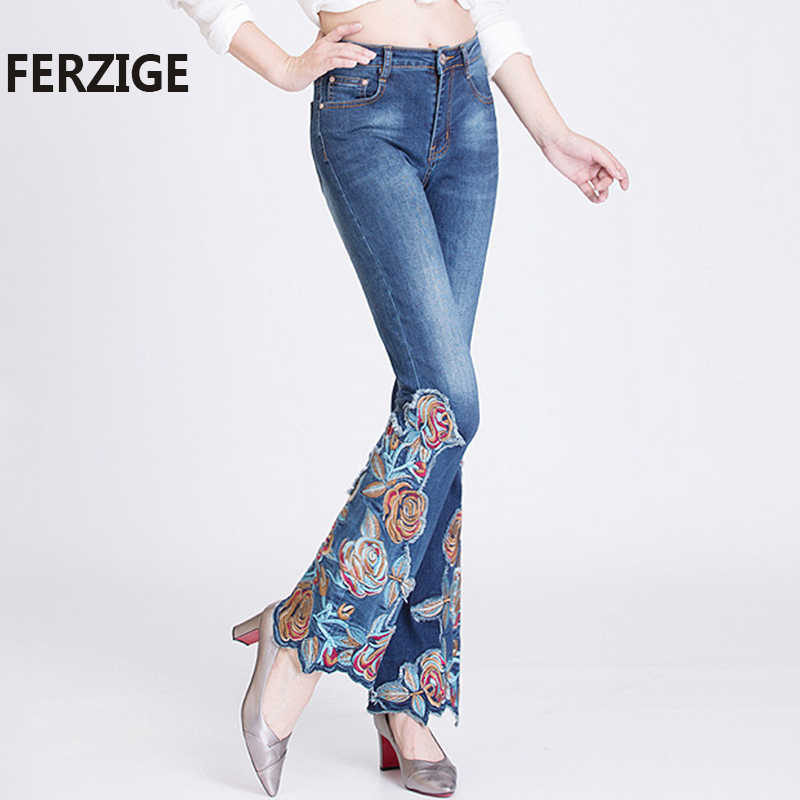 FERZIGE กางเกงยีนส์ผู้หญิง Florals ปักสูงเอวยืดกางเกงยีนส์ Push Up Flares Bell Bottoms Slim Fit กางเกงหญิงกางเกง