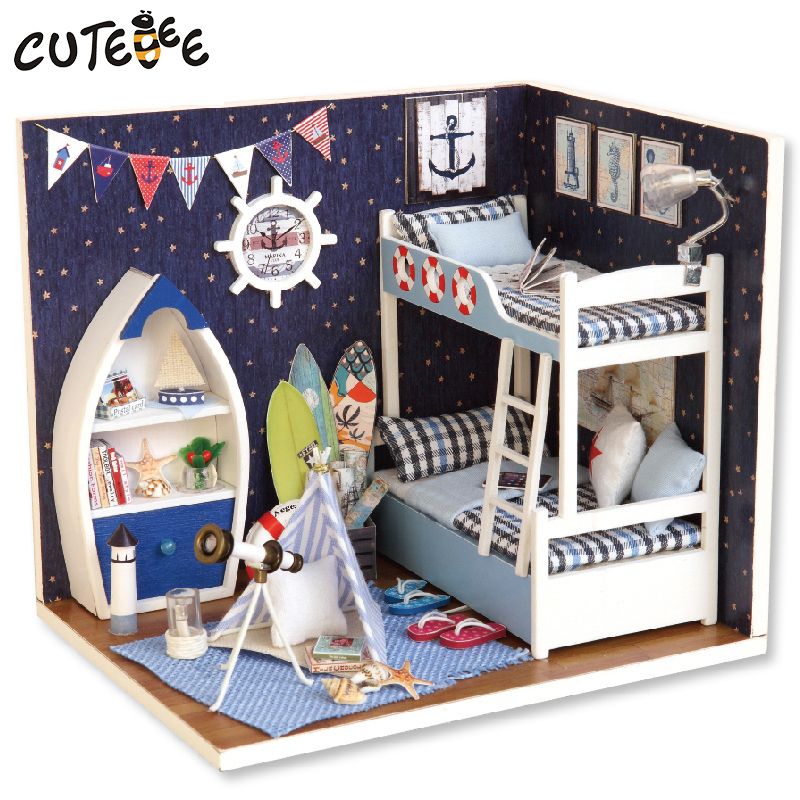 Muebles de casa de muñecas miniatura casas de muñecas de bricolaje casas de muñecas en miniatura juguetes de madera hechos a mano para niños regalo de cumpleaños H011