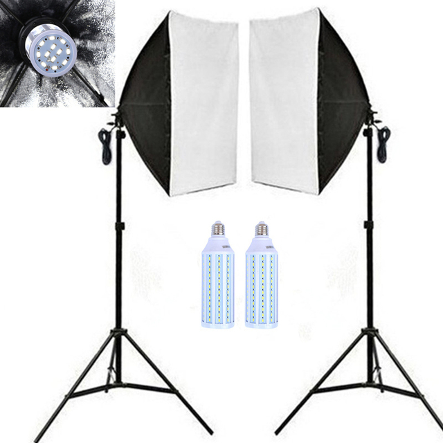 CY 2pcs 40w LED Light Photo Video Studio Light Stand Kit Photography 2*50*70cm Softbox With Single Socket+2*200cm Light Stand