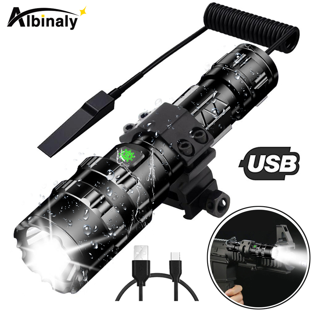 Ultra Bright LED Tactical Flashlight USB Rechargeable Waterproof Scout light Torch Hunting light 5 Modes by 18650 batteryUltra Bright LED Tactical Flashlight USB Rechargeable Waterproof Scout light Torch Hunting light 5 Modes by 18650 battery