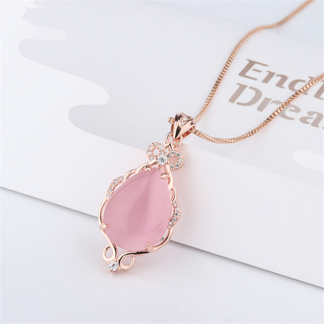 14K Jade Necklaces Natural pink Crystal ross quartz pendant Rose Gold clavicle Jewelry for women bizuteria bijoux or chalcedony