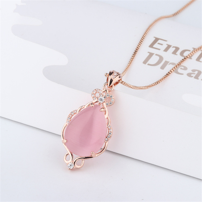 14K Jade Necklaces Natural Pink Ross Quartz Pendant Rose Gold Clavicle Jewelry Women Bizuteria Bijoux Or Chalcedony Jade Pendant