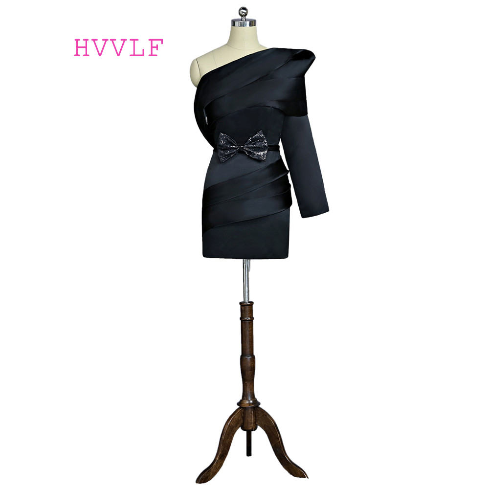 Black 2018 Formal Celebrity Dresses Sheath One-shoulder Long Sleeves Short Mini Bow Famous Red Carpet Dresses