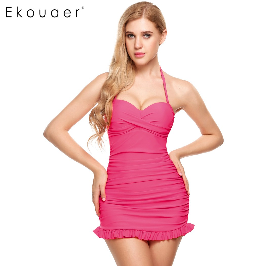 Ekouaer Sexy Bikinis Women 2017 Push-Up Swimsuit Padded Bikini Set Plus Size Swimwear Female Bathing Suit Beach Clothes Biquini стоимость
