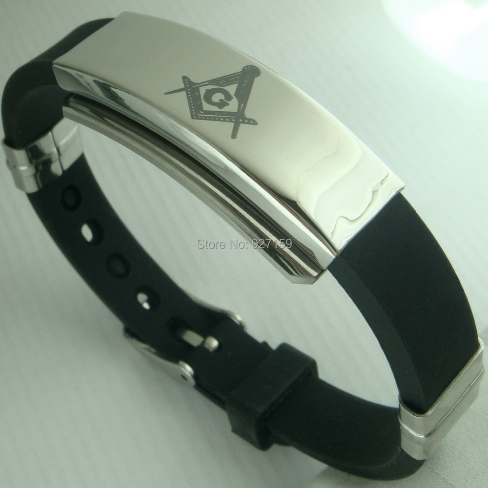 Mens Freemasonry Masonic Mason Cool PU Leather Bangle bracelet G96B