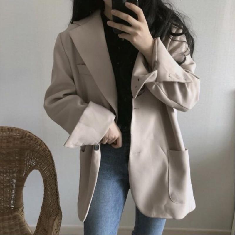 Vornehm Herbst Winter Feste Frauen Blazer 2018 Einreiher Lose Beiläufige Weibliche Jacke Ol Stil Arbeitskleidung Outwear Hohe Qualität Frauen Kleidung & Zubehör Blazer