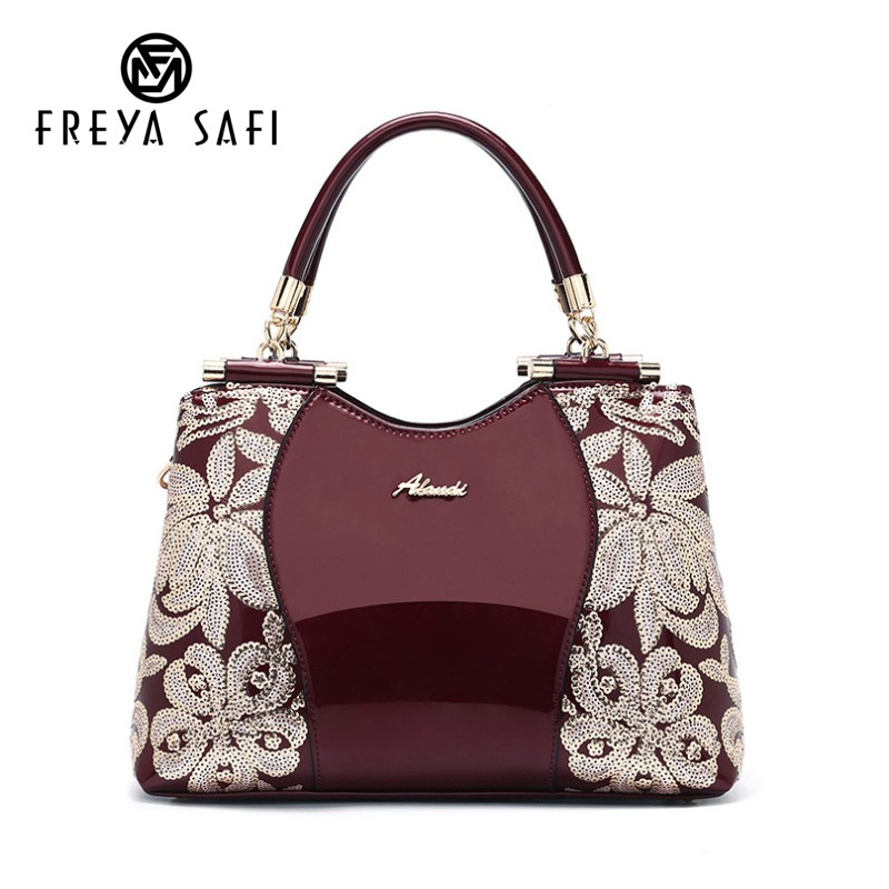 Women Patent Leather Handbags Sequin Embroidery Luxury Shoulder Crossbody Bag Famous Brand Designer Female Messenger Bag Tote luxury embroidery patent leather women messenger bags famous brand fashion female wedding party women s genuine leather bag