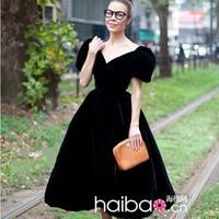 Hot Sale 2015 European Style Ladies Dress Short Sleeve Slash Neck Casual Mid Calf Black Ball