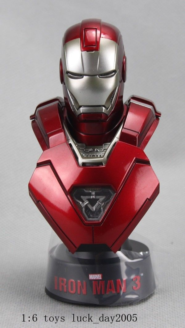 HOT TOYS IRON MAN  3 SILVER CENTURION BUST 1//6 SCALE BRAND NEW SEALED SET LIGHTS