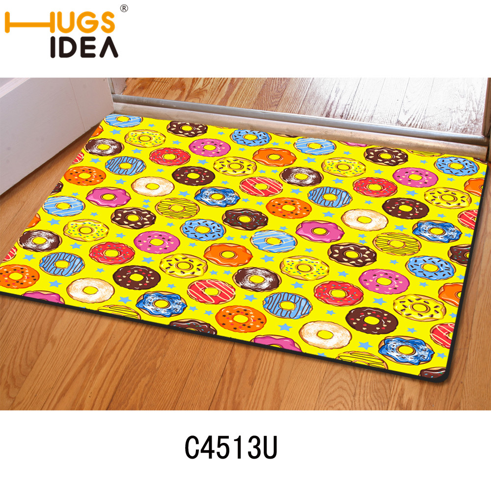 Yellow Thin Donuts Printing Bath Anti Slip Mats Felt Doormats For Living  Room Bedroom Kitchen Indoor Pad For Kids Rugs Carpets