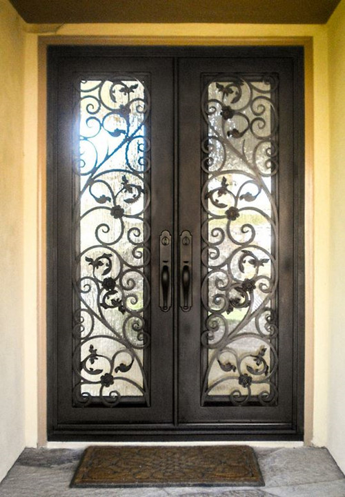 Hench 100% Steel Metal Iron  Glass Wrought Iron Front Doors