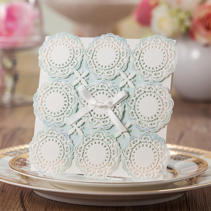 Round Design Ribbon Cute Bow Cartoon Laser Cut Pattern Lace Wedding invitation Kit Blank Paper Printing Invitations Card Set square design white laser cut invitations kit blanl paper printing wedding invitation card set send envelope casamento convite