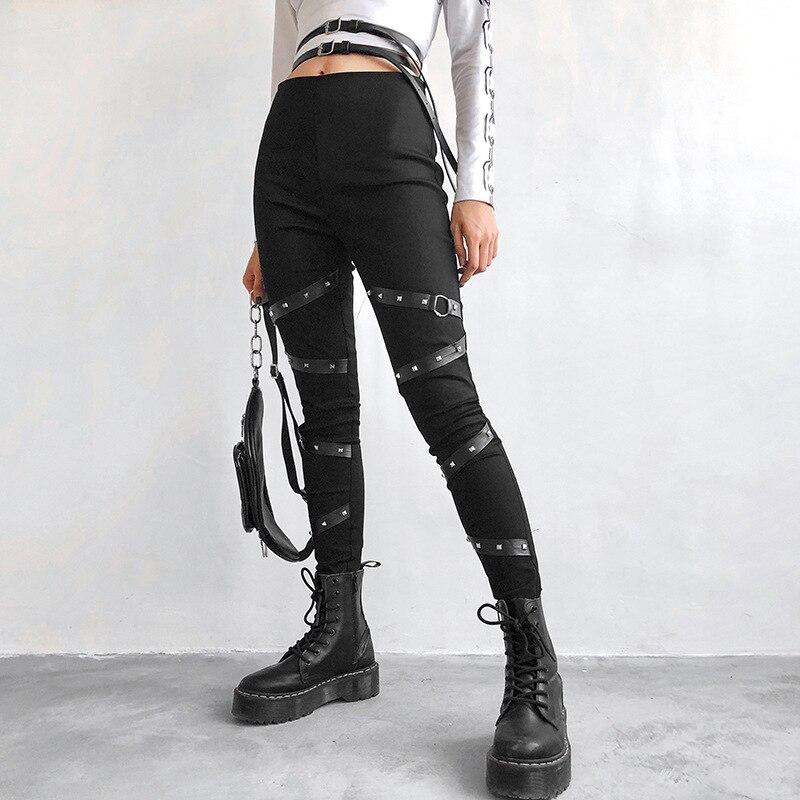 High Waist   Pants   Camouflage Loose Joggers Army Harem Camo   Pants   Women Streetwear Punk Black Cargo   Pants     Capris   Trousers XM495
